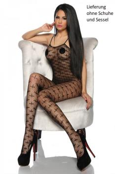 Bodystocking Ouvert Schwarz Fishnet-Muster OneSize Clubwear Dessous