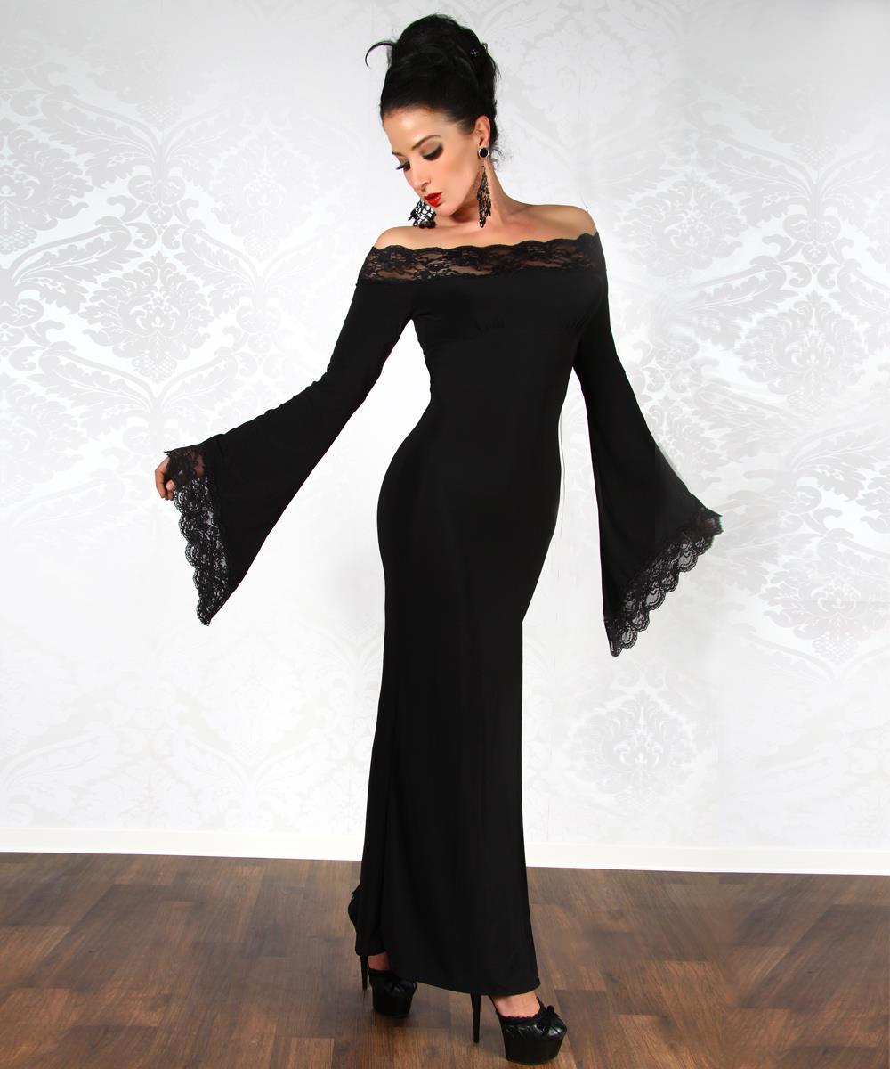 Langes schwarzes abendkleid