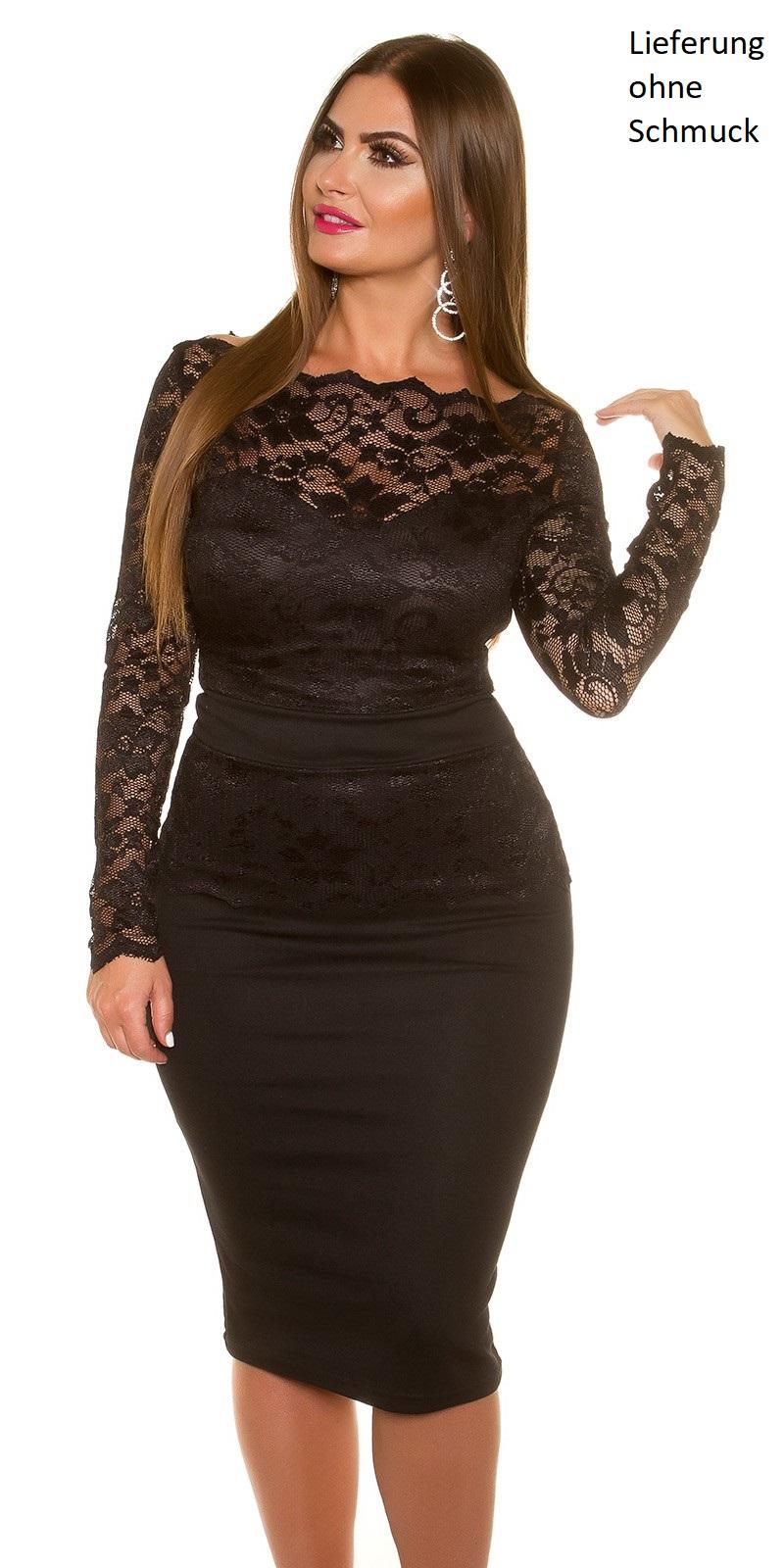 curvy girls size sexy koucla midi dress mit spitze farbe: beige oder  schwarz figurbetont